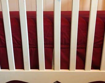 Baby, Boy, Red, White, Gray, Pleated, Peek a Boo, Crib, Skirt