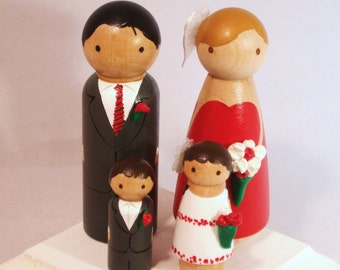 Family of 4 Wedding Cake Toppers - Fully Customizable---3-D Accent --Country - Modern