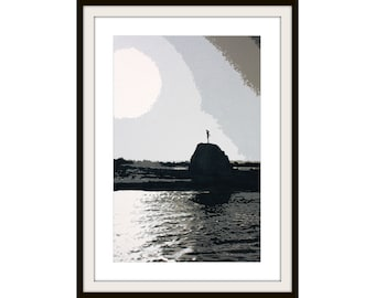 Lady on the Rock Black and White Layered Print - Free Shipping
