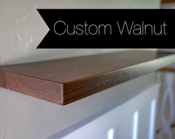 Custom Solid Walnut Floating Shelf - 50+ Sizes - 200 lb. Capacity - Free Shipping