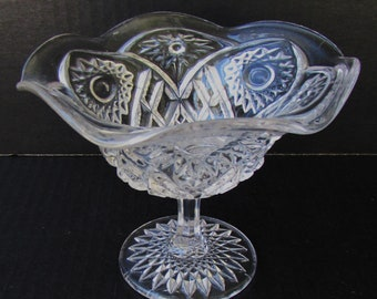 Vintage Pressed Glass Small Footed Dish - Candy Dish - Elegant - Cut Glass Design -