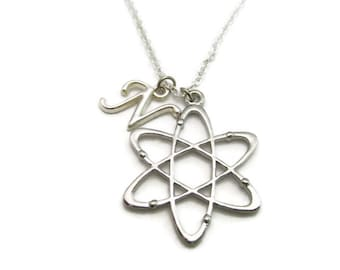 Atom Necklace Stem Necklace Physics Chemistry Necklace Initial Science Necklace Physics Jewelry Science Jewelry Physicist Gifts Atom Jewelry
