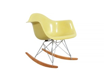 Eames RAR Herman Miller Fiberglass Shell Chair Lemon Yellow Rocker
