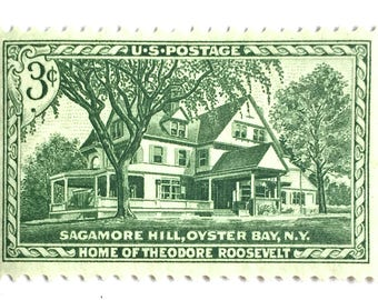 10 Unused House Postage Stamps // Mint Green Vintage Home Stamps // Sagamore Hill Home of Theodore Roosevelt // Vintage Stamps for Mailing