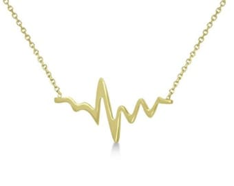 14k Solid White Yellow or Rose Gold Not Plated Heartbeat EKG Jewelry Necklace Pendant Cable Chain with Lobster Clasp Women's Gift For Her