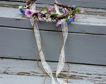 Woodland Bridal floral crown gift her blue Purple Lavender vine Rustic chic veil accent hair wreath tiara halo headpiece Wedding Accessories