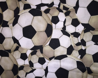 Soccer Ball Window Valance..Black, White with Brown Shading