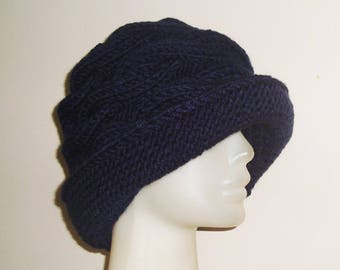 Navy Blue Hat Womens gift for woman, unique gift, hand knitted, Knit, Winter Hat, Women's hat, for her, Mom, Mothers Day, Mother's Day Gift