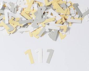 Custom Number Confetti, 1st Birthday, Yellow and Gray Party Decorations, Modern Party Decor