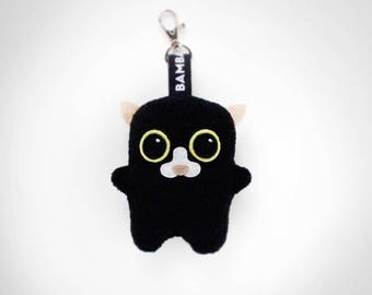 Little Bambak Miłka, black cat keychain, kitty,kitten, best friend, kids gift, soft toy, kawaii plushie, stuffie, bag charm, art toy