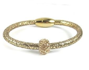 Gold Leather Bangle, Womens Leather Bracelet, Leather Bangle Bracelet, Gold Bracelet, Leather Jewelry, Womens Bracelet, Rhinestone