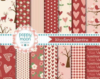 Woodland valentine, red cream and pink, digital paper pack