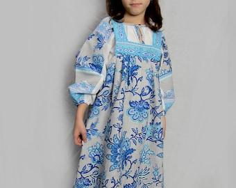 """Russian traditional costume """"Nastenka"""", Girl russian dress, Folk dress, Russian souvenir, floral dress, flowered dress, sarafan, blue dress"""