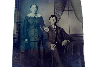 Antique Tin Type Photograph Standing Woman Seated Man Vintage Ferrotype 3-3/8 x 2-3/8