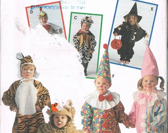 Size 1-4 Baby Or Toddler Jumpsuit Halloween Costumes - Clown Costume - Tiger Costume - Chicken Costume - Lion Costume - Simplicity 9116