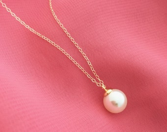 Simple pearl necklace/ Swarovski pearl necklace/ Wedding gift/Wedding jewelry/ Bridesmaids gift/ bridal jewelry