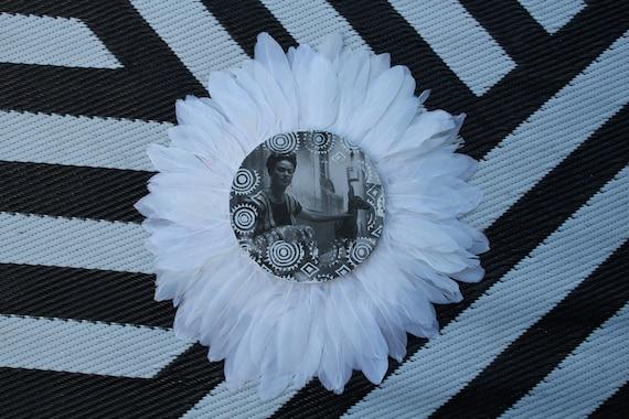 Frida with bambi  Black & White Feathers Round Wall Art, Boho Design,  Timber Porthole