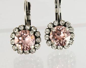 blush crystal earrings,pink crystal earrings,blush pink earrings,blush jewelry,blush wedding jewelry,blush bridesmaid earring,swarovski stud