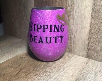 Disney Wine Glasses, Sipping Beauty, sleeping Beauty Wine Glass