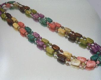 Multi Farbe Faux Stein Perle Halskette Rechteck und rund