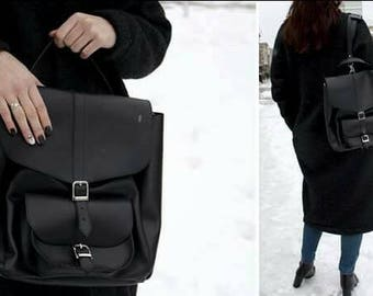 Black backpack leather backpack classic backpack woman backpack modern backpack work backpack office backpack study backpack travel backpack