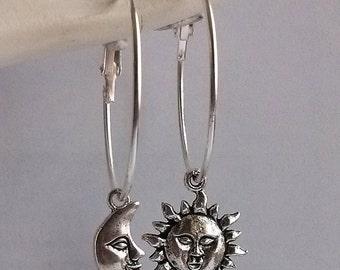 Sun And Moon Earrings , Silver Earrings , 34mm Hoops , Celestial Earrings , Silver Hoops , Asymmetrical Earrings , Sun Earrings , Statement