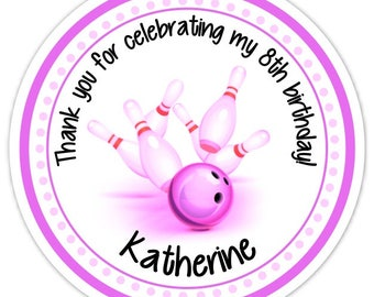 Bowling Birthday Labels, Pink Purple Bowling Stickers, Birthday Decoration, Personalized Children Stickers