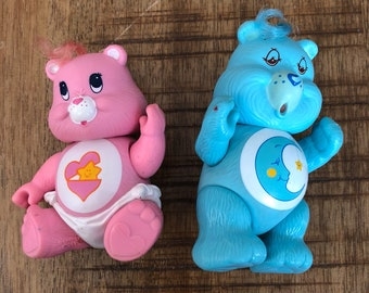 1983 and 1984 Kenner Care Bears Posable Figures Baby Hugs and Bedtime Bear