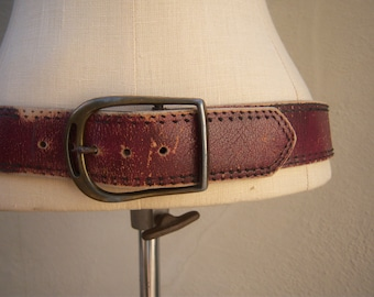 Vintage distressed leather belt / oxblood chunky leather belt, womens 4-6, 31-34 inches