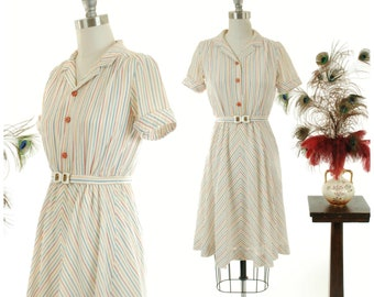 Vintage 1980s Dress - Fantastic 1940s Style Multiclored Striped Dress with Matching Belt and Small Buttons