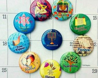 Jüdische Feiertage Magnete Kalender Magnete, jüdische Kunst, jüdische Geschenke, jüdische Feiertagen Geschenkideen, Pessach, Chanukka Menora, hohen Feiertagen