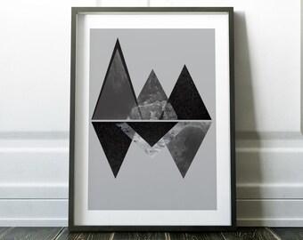 Minimalist Print, Wall Art Print, Scandinavian Print, Modern Art, Modern Print, Black and White, Minimalist Art, Wall Art, Mountain Print
