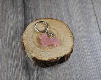 Handmade key Ring of epoxy resin/Welsh corgi dog/cute Keychain