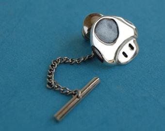 Tie pin - Sterling silver Mario mushroom tie tack
