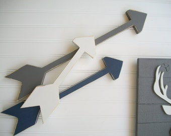 Set of Arrows . Nursery Arrows .Grey . Navy . Tribal Nursery . Boho Baby . Wooden Arrow . Boho Arrow . Wooden Arrows