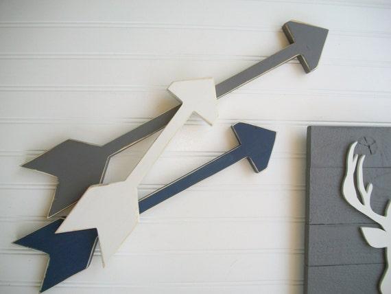 Set of Arrows . Nursery Arrows .Grey . Navy . Tribal Nursery . Boho Baby . Wooden Arrow . Boho Arrow . Wooden Arrows