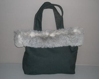 Handbag grey fur headband