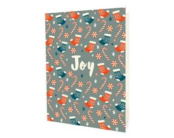 Joy Stocking Folded Holiday Cards, Box of 10 - Christmas Cards - OC1172-BX