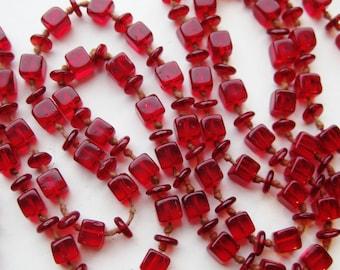 "Vintage 20s Candy Apple Cherry Red Czech Art Glass Bead 64"" Long Art Deco Necklace"
