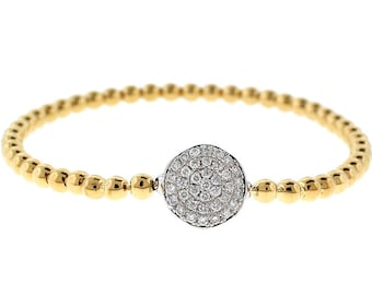 12125 18k Yellow Gold Beaded Bangle with Cluster of Diamonds