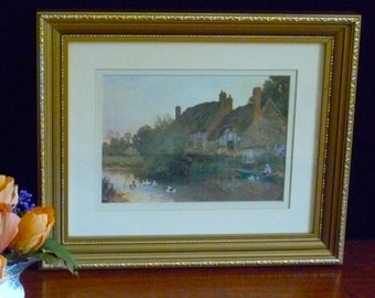 Gold framed print of English cottage.  Vintage print from the 90's.