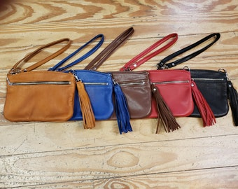 Leather BELLA Wrist Bag with Tassel and Convertible Strap