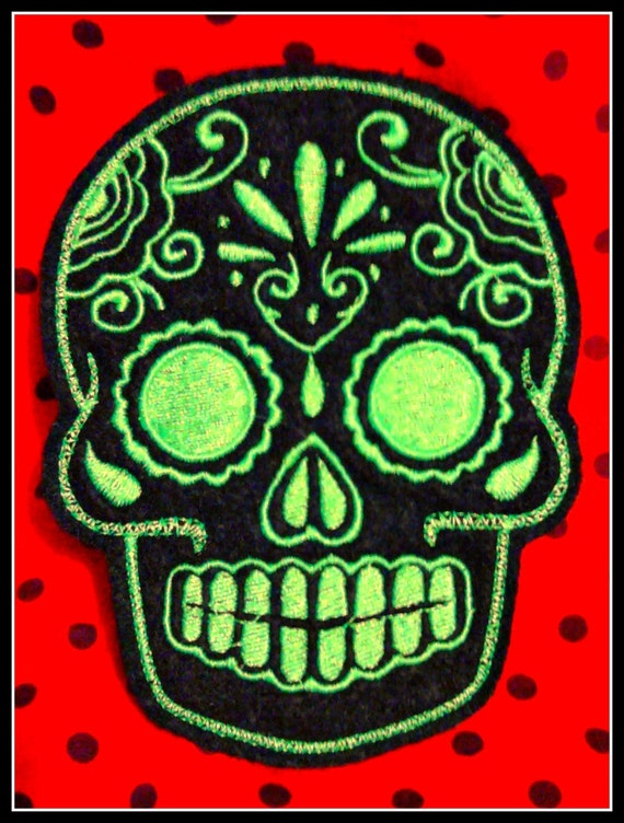 Mexican Day of the Dead Sugar Skull Patch Embroidery black and lime