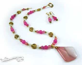 Pink Necklace Set statement necklace earrings set fuchsia necklace birthstone earrings gemstone necklace pendant girlfriend gift for wife