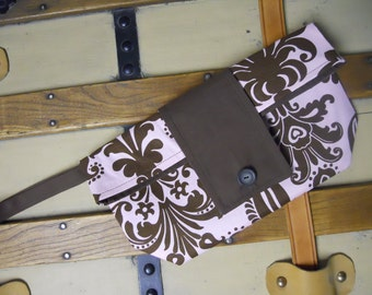 Pastel Pink and Chocolate Brown Chic Foldover Wristlet Clutch SALE