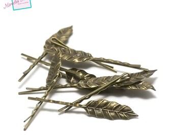 """leaf"" 10 pins/hair barrettes, bronze"