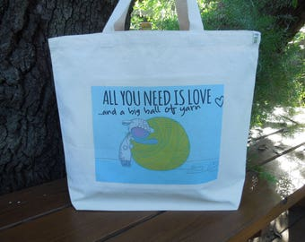 Natural cotton canvas tote - Large canvas tote - Knitting project bag - Yarn bag - Knitting project bag - All you need is love