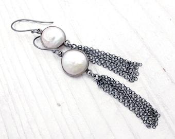 tassel earrings, pearl earrings, coin pearl earrings, white pearl earrings, boho pearl earrings, chain tassel earrings, tassel jewelry