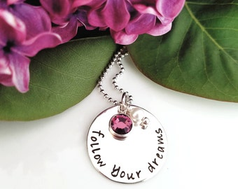 Follow Your Dreams Necklace, Follow Your Dreams Sterling Silver Charm Necklace