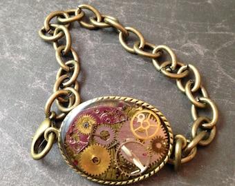 Oval Clockwork Clutter Antiqued Brass Bracelet